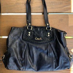 Black coach leather satchel